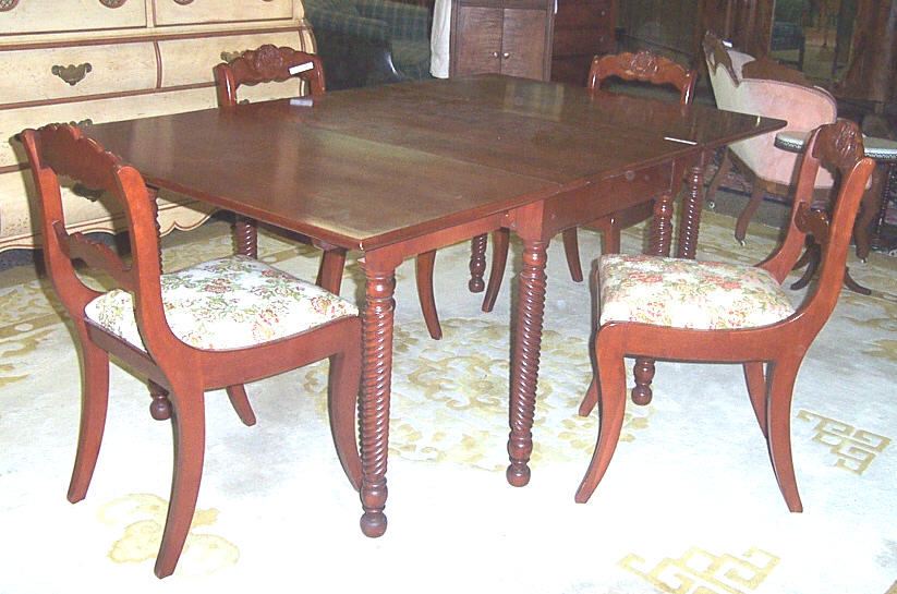 The Back Of Chairs Features A Prominent Carved Rose Slats Go Sideways Instead Up And Down Note Also That This Table Has No Leaf Nor Provision For