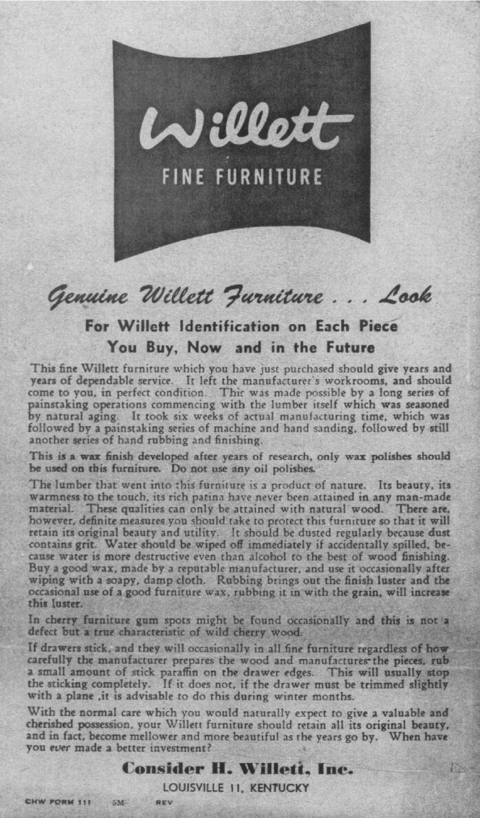 The First Paragraph Talks A Bit About The Manufacturing Process That  Resulted In The Famous Willett Finish, Which Is A Hand Rubbed Finish.